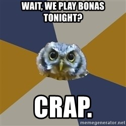 Art Newbie Owl - Wait, We play Bonas Tonight? Crap.