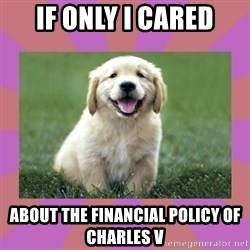 a level puppy - if only i cared about the financial policy of charles V