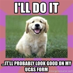 a level puppy - i'll do it ...it'll probably look good on my ucas form