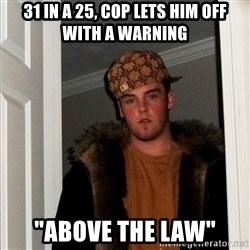 "Scumbag Steve - 31 in a 25, cop lets him off with a warning ""above the law"""