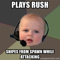 FPS N00b - plays rush snipes from spawn while attacking