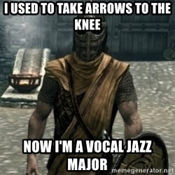 skyrim whiterun guard - i used to take arrows to the knee now i'm a vocal jazz major
