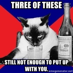 Alco-cat - Three of these still not enough to put up with you.