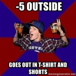 Sunny Student -  -5 outside goes out in t-shirt and shorts