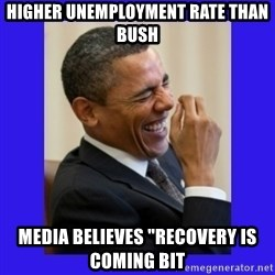 "Obama Laugh  - Higher unemployment rate than bush media believes ""recovery is coming bit"