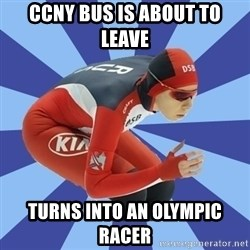 speed skater - ccny bus is about to leave turns into an olympic racer