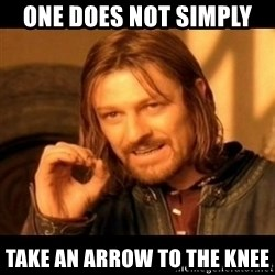 Does not simply walk into mordor Boromir  - ONE DOES NOT SIMPLY  TAKE AN ARROW TO THE KNEE