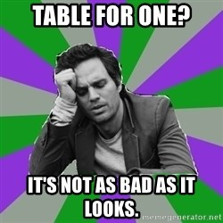 Forever Alone Bruce - Table for one? It's not as bad as it looks.