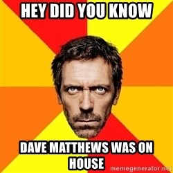 Diagnostic House - hey did you know dave matthews was on house