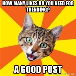 Bad Advice Cat - how many likes do you need for trending? a good post