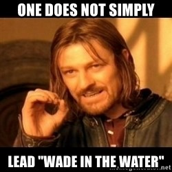 "Does not simply walk into mordor Boromir  - one does not simply lead ""wade in the water"""