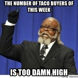 Too high - the number of taco buyers of this week is too damn high