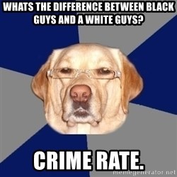 Racist Dawg - Whats the difference between black guys and a white guys? Crime rate.