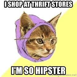 Hipster Kitty - I shop at thrift stores i'm so hipster