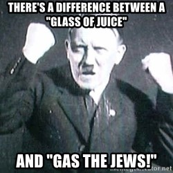 "Successful Hitler - There's a difference between a ""glass of juice"" and ""gas the jews!"""