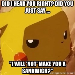 "Pikachu Enojado - Did i hear you right? Did you just say ... ""I will 'not' make you a sandwich?"""