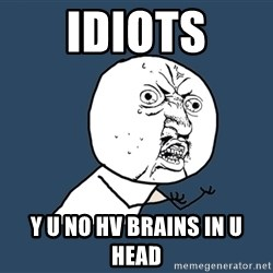 Y U No - Idiots Y u no hv brains in u head