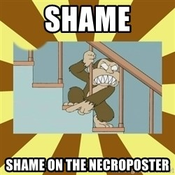 evil monkey - SHAME SHAME ON THE NECROPOSTER