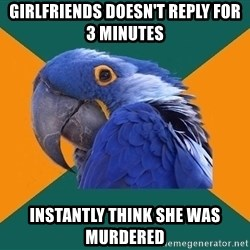 Paranoid Parrot - girlfriends doesn't reply for 3 minutes instantly think she was murdered
