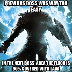 Dark Souls Dreamagus - previous boss was way too easy in the next boss' area the floor is 90% covered with lava