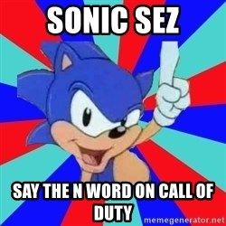 Sonic Says - sonic sez say the n word on call of duty