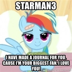 Cute Book Holding Rainbow Dash - Starman3 i have made a journal for you. Cause i'm your biggest fan. I LOVE YOU!