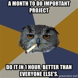 Art Student Owl - A month to do important project do it in 1 hour, better than everyone else's.