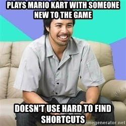 Nice Gamer Gary - plays mario kart with someone new to the game doesn't use hard to find shortcuts