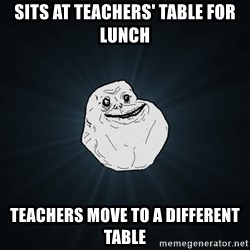 Forever Alone - Sits at teachers' table for lunch Teachers move to a different table