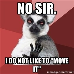 "Chill Out Lemur - no sir. i do not like to ""move it"""