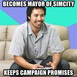 Nice Gamer Gary - becomes mayor of simcity keeps campaign promises
