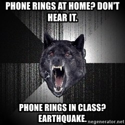 Insanity Wolf - Phone rings at home? Don't hear it.  Phone rings in class? earthquake.