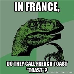 "Philosoraptor - In France, Do they call French Toast ""toast""?"