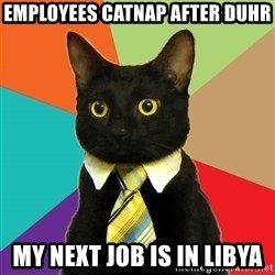 Business Cat - employees catnap after duhr My next job is in Libya