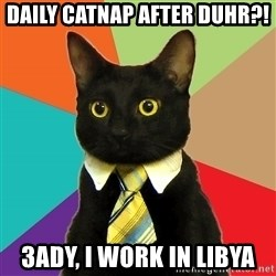 Business Cat - daily catnap after duhr?! 3ady, I work in Libya