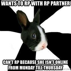 Roleplaying Rabbit - Wants to RP with rp partner Can't rp because she isn't online from monday till thursday