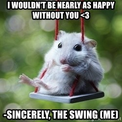 Sorry I'm not Sorry - I WOULDN'T BE NEARLY AS HAPPY WITHOUT YOU <3 -sincerely, the swing (me)