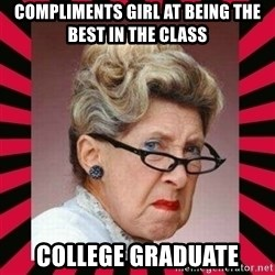 Condescending Director - compliments girl at being the best in the class college graduate