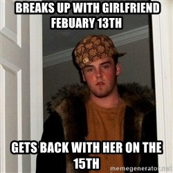 Scumbag Steve -  Breaks up with girlfriend Febuary 13th Gets back with her on the 15th