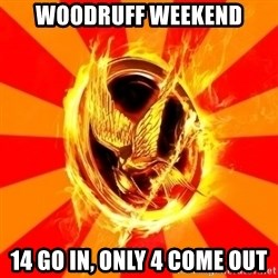 Typical fan of the hunger games - Woodruff weekend 14 go in, only 4 come out