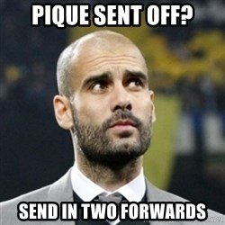 pep guardiola - pique sent off? send in two forwards