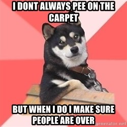Cool Dog - i dont always pee on the carpet but when i do i make sure people are over