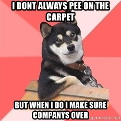 Cool Dog - i dont always pee on the carpet but when i do i make sure companys over