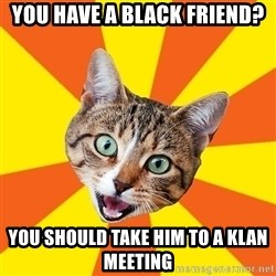 Bad Advice Cat - You have a black friend? you should take him to a klan meeting