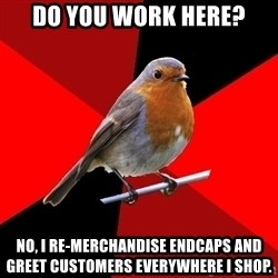 Retail Robin - do you work here? no, i re-merchandise endcaps and greet customers everywhere i shop.