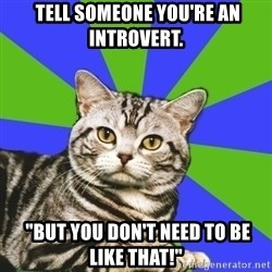 "Introvert Cat -  Tell someone you're an introvert.  ""But you don't need to be like that!"""