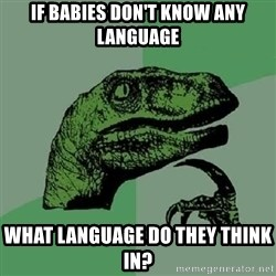 Philosoraptor - If babies don't know any language what language do they think in?