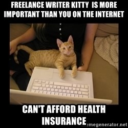 Freelance Writer Kitten - Freelance writer kitty  is more important than you on the internet Can't afford health insurance