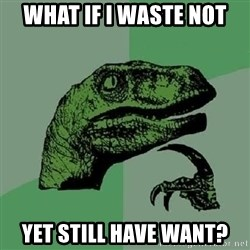 Philosoraptor - what if i waste not yet still have want?