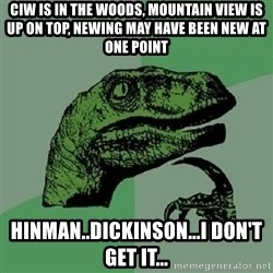 Philosoraptor - Ciw is in the woods, mountain view is up on top, newing may have been new at one point Hinman..Dickinson...I don't get it...
